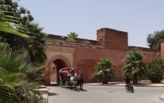 Horse-drawn carriage ride or calèche in Marrakech