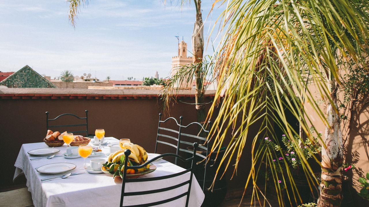 marrakech riad breakfast on the terrace