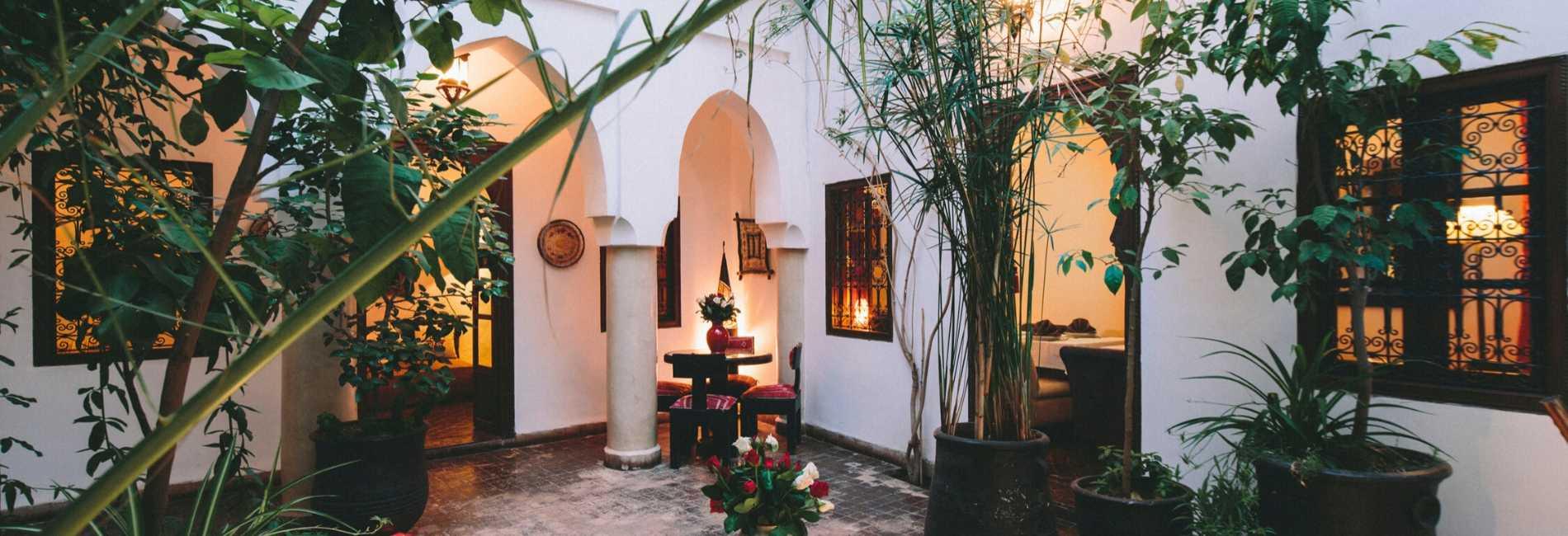 lush courtyard marrakech riad