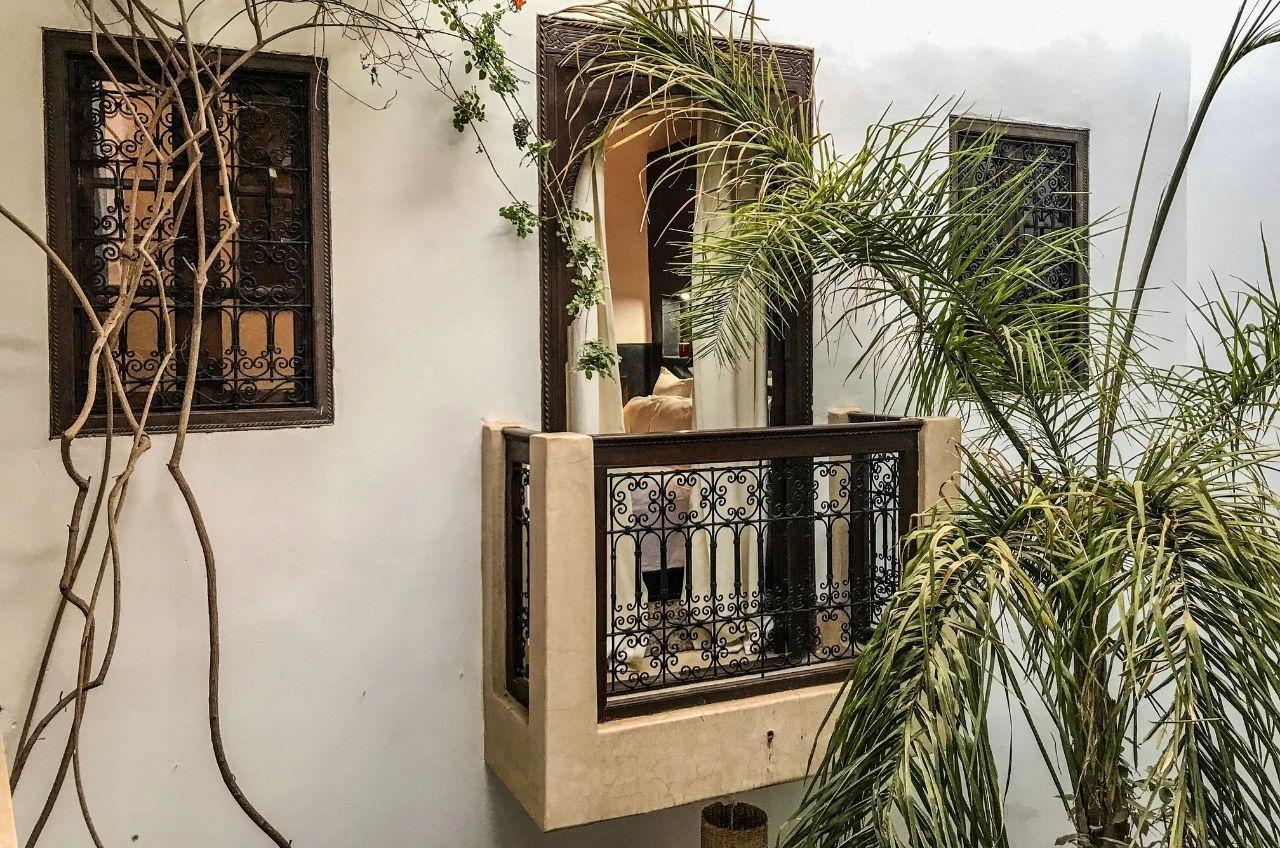 marrakech riad balcony with palm tree