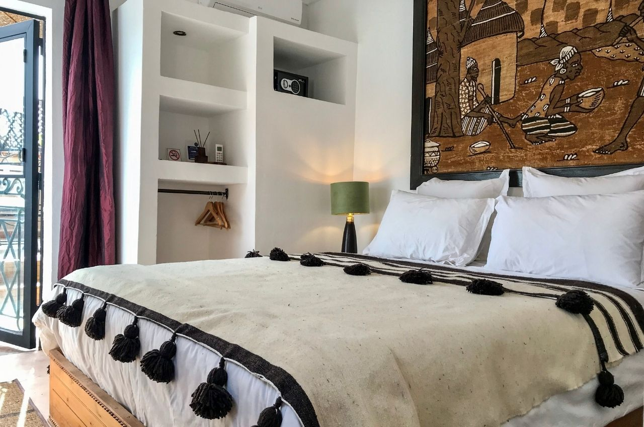 marrakech riad bedroom on sun terrace